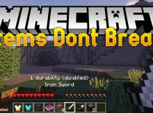 Los artículos no se rompen mod para el logotipo de Minecraft