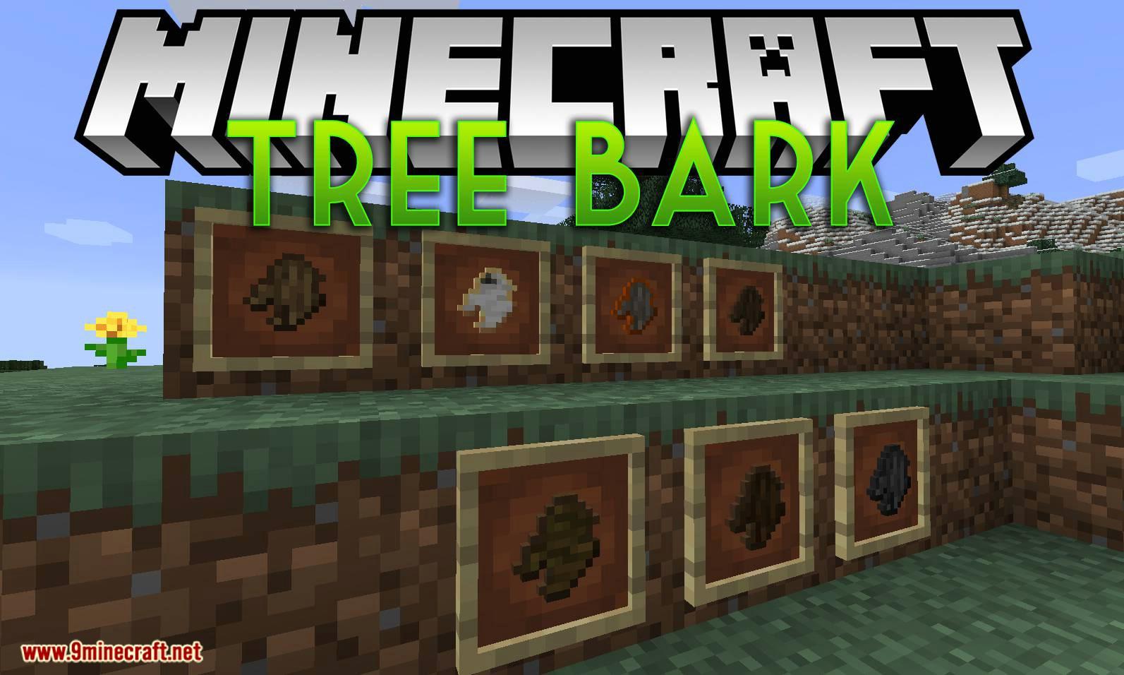 Mod de corteza de árbol para el logotipo de Minecraft