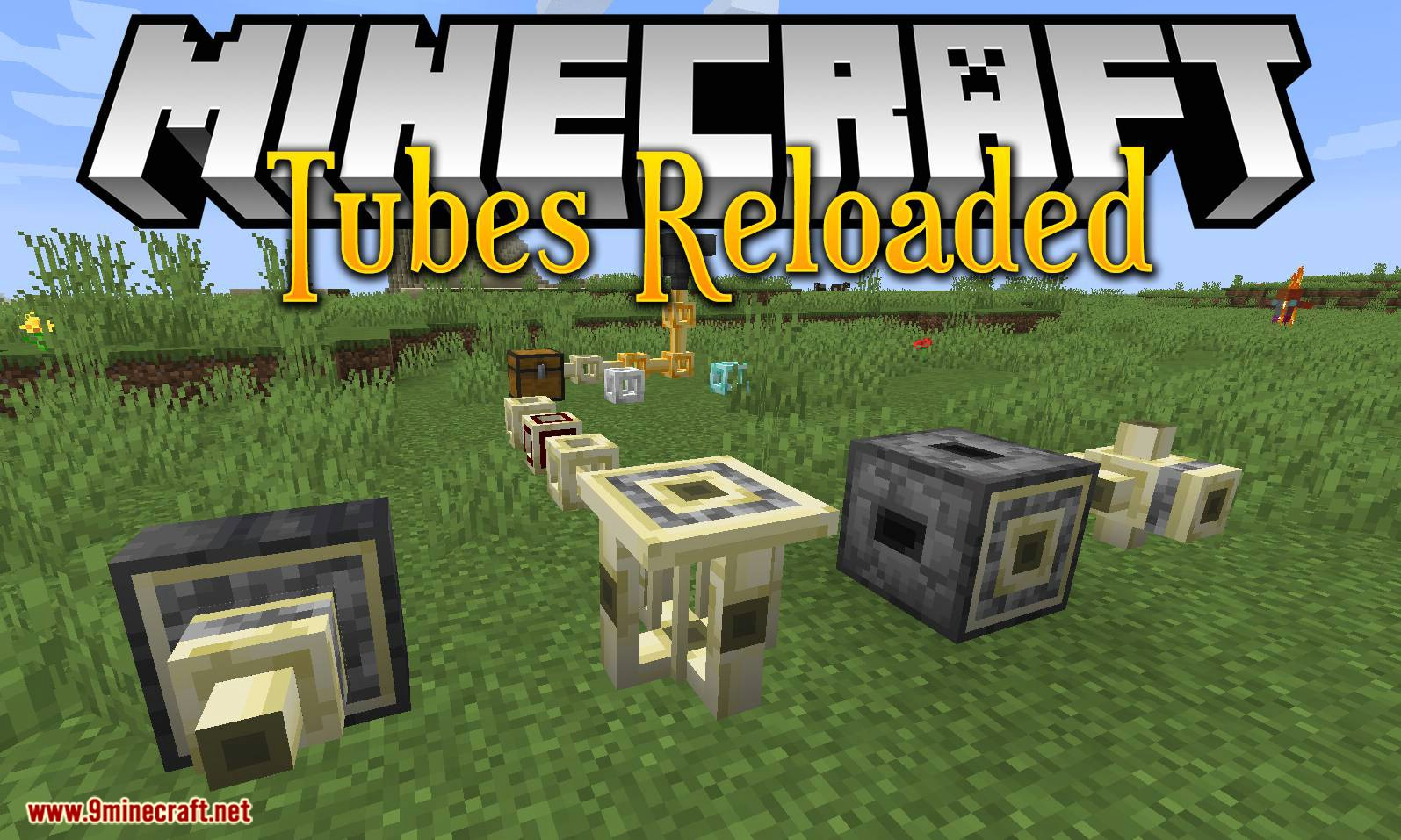 Tubos Reloaded mod para el logotipo de Minecraft