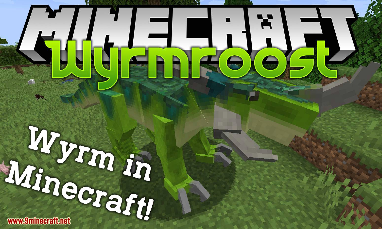 Mod Wyrmroost para el logotipo de Minecraft